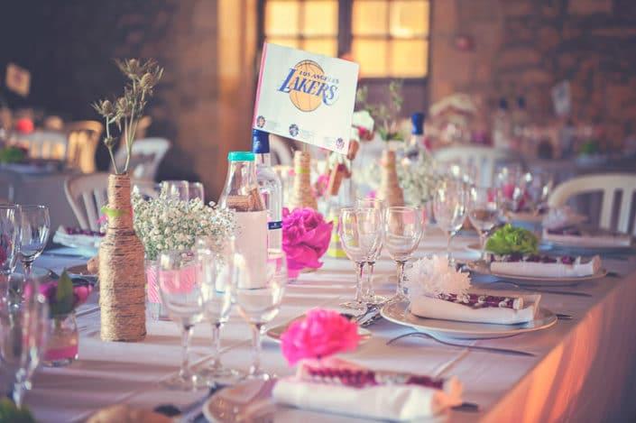 Photo mariage soirée table