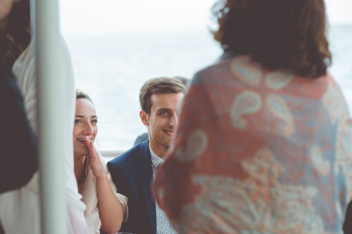 vin d'honneur mariage sur un bateau au bassin d'arcachon